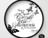 Tim Burton Style Wall Clocks - Clocks - 'Beauty & Strangeness' - 10 Inch Diameter - Round - Edgar Allan Poe Quotes