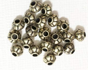 50 pcs of antique brass rondelle spacer beads 4x5mm,  metal spacer beads