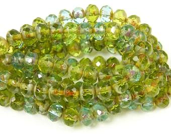 Green Aqua Picasso Rondell Beads Czech Transparent Glass Bead 5x7mm |GR5-11| 1x25