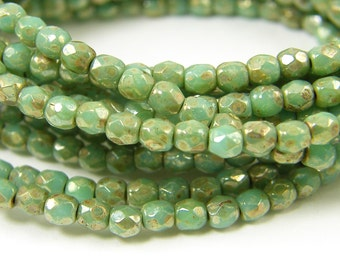 3mm Green Luster Picasso Beads Faceted Round Czech Fire Polish Glass Beads |GR12-6|50
