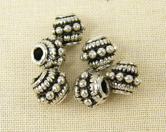 8mm Antique Silver Metal Beads Large Hole Silver Barrel Beads Bumpy Granulated Silver Metal Bead |S12-17|6 XS