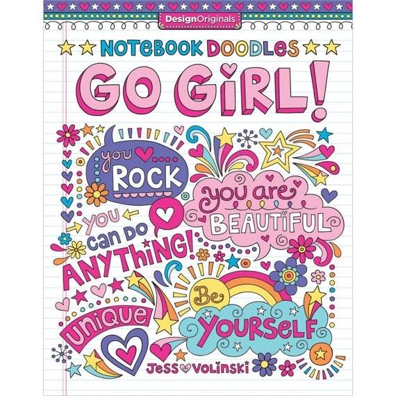 Notebook doodles go girl coloring book design originals Coloring book notebook