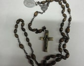 Antique Rosary Beads Brass Cross marked FRANCE