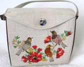 Reserved Vintage Jeweled Acrylic Lucite Teak BIRD Handbag Bucket Purse // 1950s 1960s
