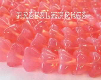 Pink Flower Beads, 8mm Czech Glass, Translucent, 25 beads