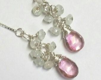 Aquamarine Cluster Earrings, Pink Quartz Earrings, Sterling Silver Earrings, Pink Earrings, Boho Threader Earrings  by Maggie McMane Designs