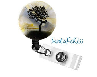 Lampwork Glass Magnetic Badge Holder made with  with Retractable Badge Reel.  A great gift for your favorite nurse or coworker