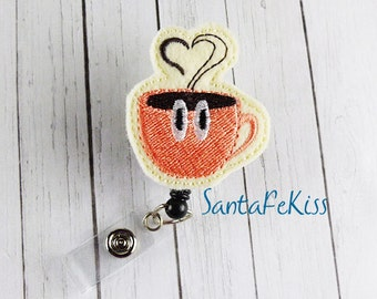 Coffee Cup  Retractable ID Badge Reel - Felt Badge Holder makes a great gift for Office Worker / Teacher/ Coworker / Nurse