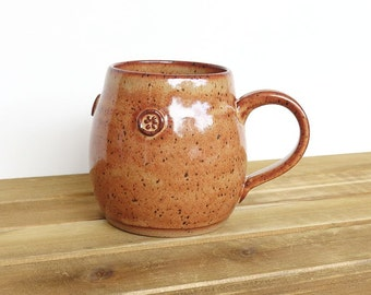Coffee Cup Ceramic Stoneware in Shino Glaze - Single Pottery Mug, Rustic Kitchen