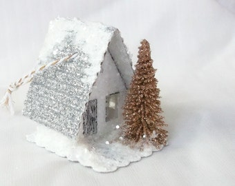 Vintage Putz Style Miniature White Glitter Sugar House with Gold Tree and Silver Roof for your Christmas Village or Tree Ornament