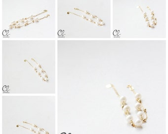 Delicate Double Strand Bracelet with White Fresh Water Pearls and 18K Gold Chain (B56)