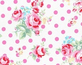 White Pink Rose Floral Polka Dot 31268 20 Fabric by Lecien Flower Sugar