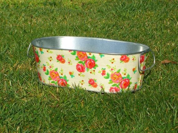 Clearance Sale Pink Rose Metal Tub Medium Oblong Planter - Made Ready for Shipping