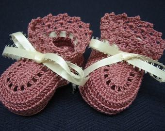 Newborn Baby Girl Booties, Crochet Christening Booties DUSTY ROSE Newborn Baby Girl or Reborn Doll