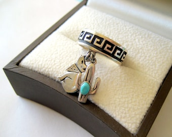 Navajo Teme Sterling Silver and Turquoise Charm Ring Size 7