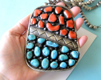 Massive Navajo Turquoise and Red Coral Sterling Silver Pendant
