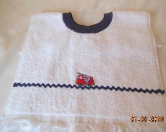 Fire Truck and Rick Rack Baby/Toddler Slip On Bib