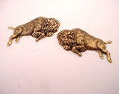 4 brass ox  Great Pains American left right  West buffalo Bison stampings 37mm WITH HOLE