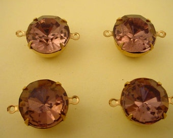 4 Vintage Light Amethyst Rhinestone Drops connector  Charms 14mm brass setting