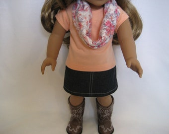 American Girl Doll Clothes - Jean Skirt Outfit with Floral  Infinity Scarf