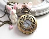 Alice in Wonderland White Rabbit locket Watch  necklace plush bunny