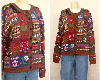 Chunky library cardigan / Vintage novelty cardigan / hand knit oversize floral alphabet picture sweater / womens medium large