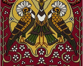 Nature Panel No. 5 Crested Birds and Flowers Cross stitch pattern PDF Art Nouveau