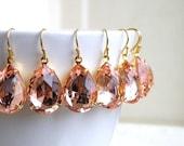 27% Off Sale Pastel Pink Earrings Foiled Teardrop Stone Rhinestone Gold BEVP3