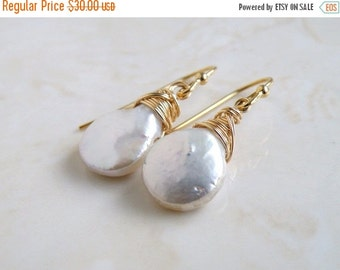 Clearance SALE White Coin Pearl Gold Baroque Dangle Earrings GE10