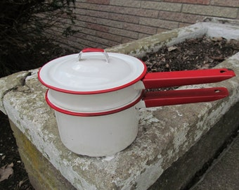 Red and White Enamel Double Boiler with Lid