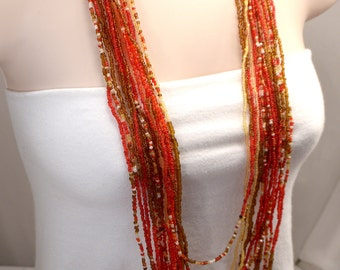 Red Necklace, Dramatic Multi Strand Bead Necklace, 16 Strand Statement Red Necklace, White Necklace, Amber Bead Long Layered Necklace (N310)