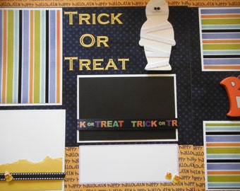 Halloween  Trick or Treat BOO Mummy Premade  12x12 Scrapbook Pages for your FAMILY  Boy GIRL Wood