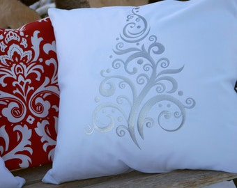 Silver Christmas Tree Pillow Cover