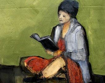 Abstract Art Figure Figurative Portrait Giclee Print Colette Davis - LOST IN A BOOK