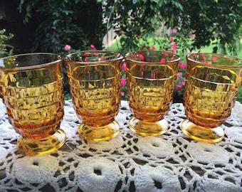 Vintage 1970s Era 4Juice Size  Block Design Drinking Glasses Glass