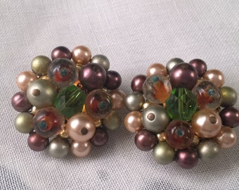 Vintage 1950's Multi Color Beaded Clip OnEarrings