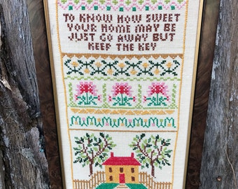 Vintage Wood Framed Cross Stitch To Know How Sweet Your Home May Be Sampler
