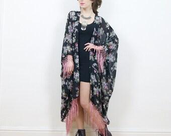 Fringe kimono, boho kimono, floral kimono jacket, duster jacket, tassel kimono, kimono jacket, floral duster