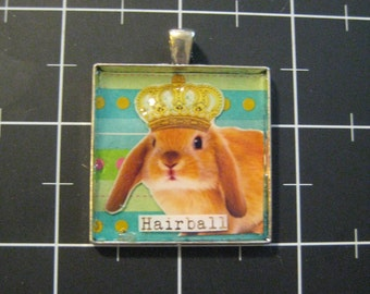 "Crowned King Rabbit Pendant, ""Hairball"", 50% goes to the current focus charity"