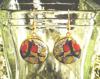 Queen of Hearts from Alice's Adventures in Wonderland Altered Art Earrings