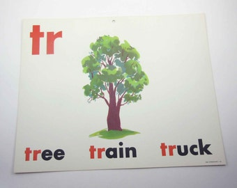 Vintage 1960s Childrens Giant Sized School Flash Card with Picture and Word for Tree