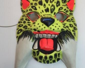 Vintage Halloween Mask sabor tooth tiger, display mask, vintage child mask, cat mask
