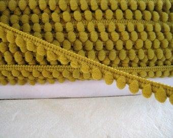 5 yards of Mini Pom Pom Trim Fixed Pom Pom size 0.5 cm - Number23 Dark Gold