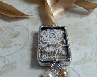 Bridal Bouquet Charm, Soldered Shadow Box, Wedding Charm, Heirloom Piece, Wedding Dress Lace, Personalized, Something Old, Something New