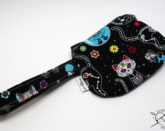 Roller Derby Waterproof Mouth Guard Case Retainer Case Day of the Dead Kitty Zipper Closure Made To Order