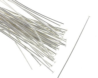 Head Pins Silver Plated 2 Inch 21 Gauge Findings (50) FI836