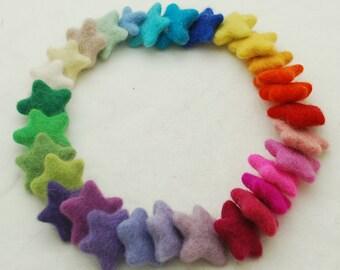 Assorted 100% Wool Felt Star - 30 Count