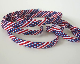 3 yards Red White Blue BRAIDED tape passementerie trim. 5/16 inch wide. 1001-C  Woven tube braid