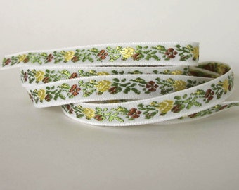 3 yards narrow BAVARIAN FLORAL Jacquard trim. Yellow, brown, green on white. 3/8 inch wide. X006