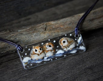 Amazing flying snow Squirrels on a tree branch necklace - fused glass pendant